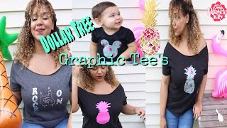 Dollar Tree DIY Graphic Tee and Embroidered Tee - No Transfer Paper