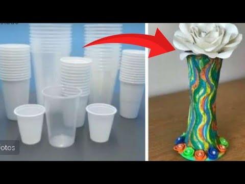 Cómo Hacer Un Florero Usando Vasos Plasticos