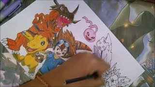 【Speed Drawing】《DIGIMON》Taichi and Evolution of Agumon