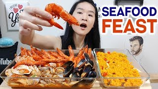 SEAFOOD!! Kimchi Seafood Broth Pot w/ Paella Rice, Mussels, Prawns & Scallops | Eating Show Mukbang