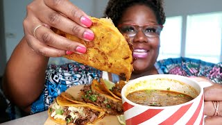 HIGHLY REQUESTED BIRRIA QUESO TACOS Y CONSUME RECIPE + MUKBANG | Asmr 실제 요리 소리