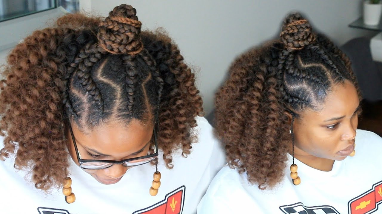 4c Hairstyles Braids: Half Up Half Down Crochet // Ghana Feedin Braids