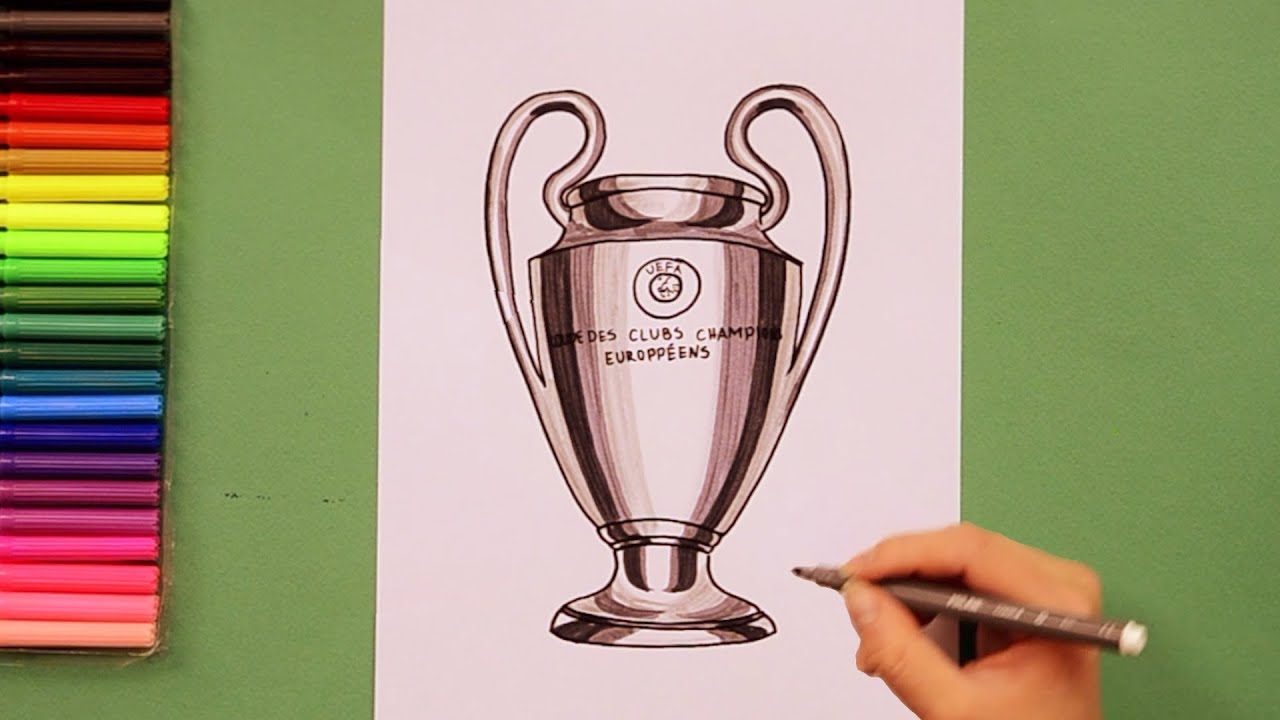 how to draw uefa champions league trophy youtube how to draw uefa champions league trophy