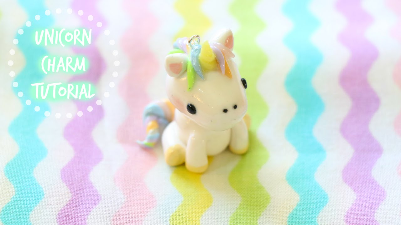 polymer clay unicorn charm tutorial youtube