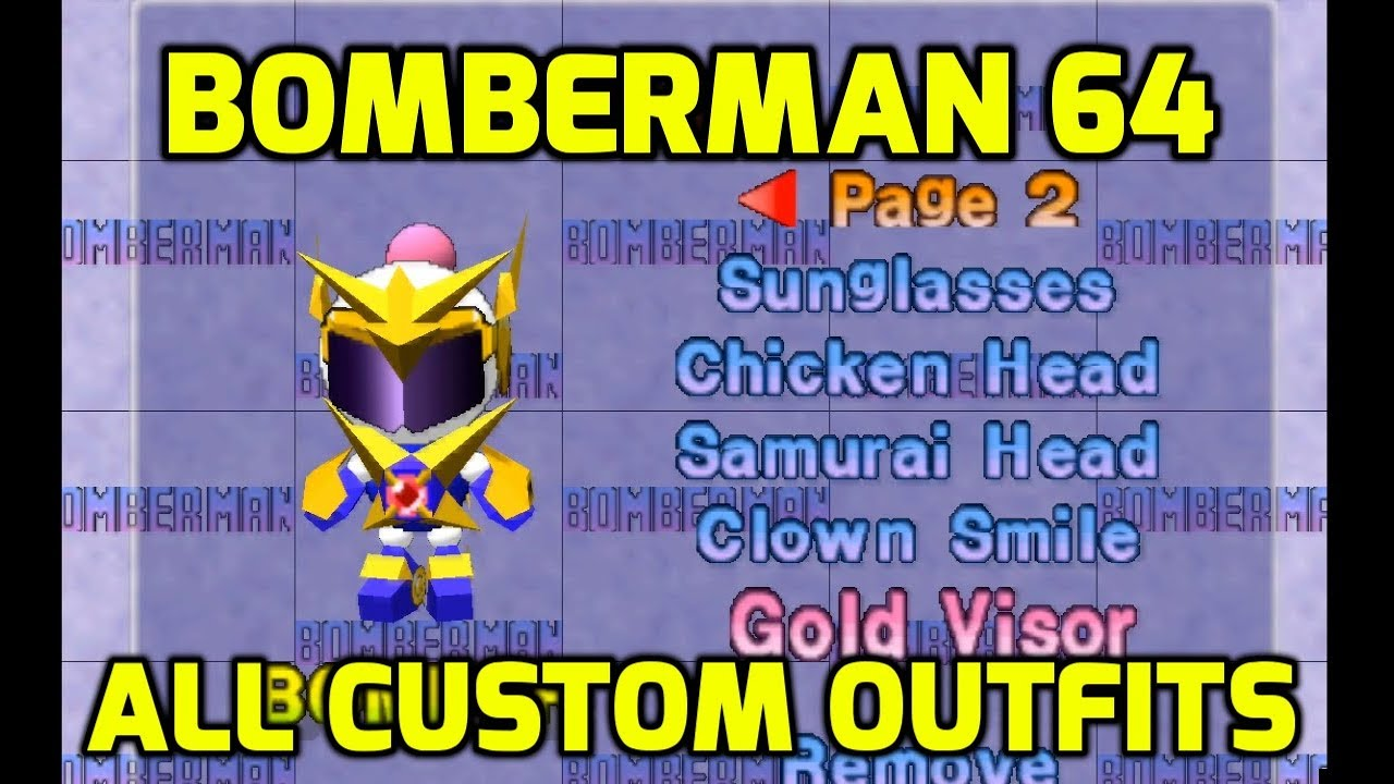 Bomberman 64 (N64) - All Custom Parts and Outfits