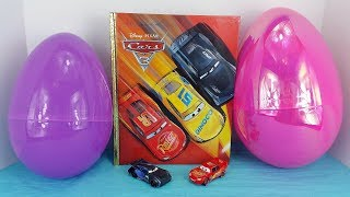 Cars 3 Movie Big Golden Book & 2 Giant Egg Surprises with Lightning McQueen and Jackson Storm