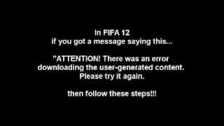 FIFA 12 - How to Fix Creation Centre Problem. Tutorial.(In FIFA 12 if you got a message saying this