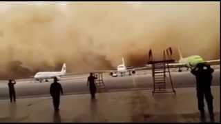 بالفيديو.. عاصفة ترابية تضرب مطار الملكة علياء