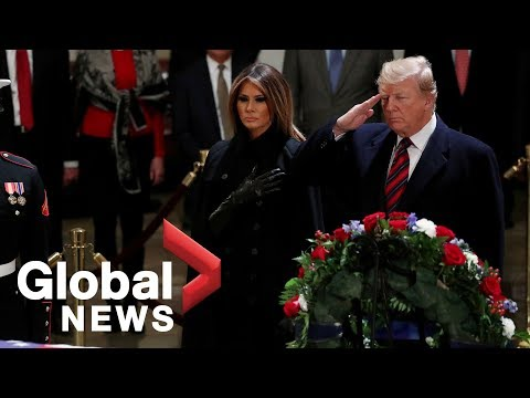 President Trump salutes casket of former President George H.W. Bush at the Capitol