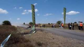 Awesome jump by rally driver in Kenya .