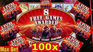 Buffalo STAMPEDE Slot Machine Max Bet BONUS  ★BIG WIN★ w/Ton of Retriggers | Live Slot Play