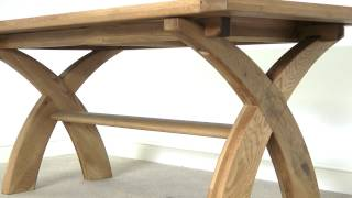 Country Oak 1.8m Fixed Cross Leg Square Ended Dining Table