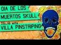 Dia Del Los Muertos Skull Wood Cutout Halloween Art with Villa Pinstriping