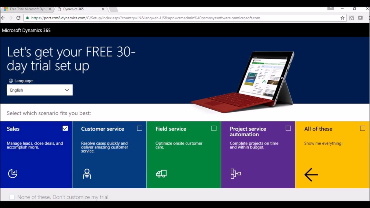 Microsoft 365 Free Trial >> Dynamics 365 Online Trial Instance Creation Youtube