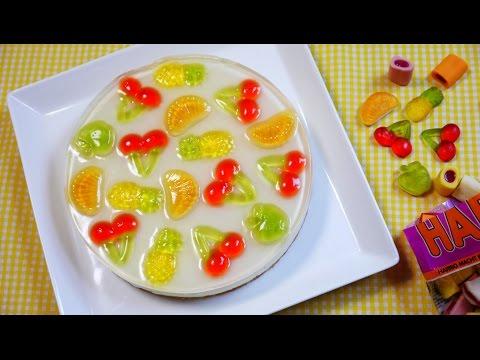 Haribo Gummy Imitation Fruit No Bake Cheesecake ハリボーグミをのせた なんちゃってフルーツなレアチーズケーキ