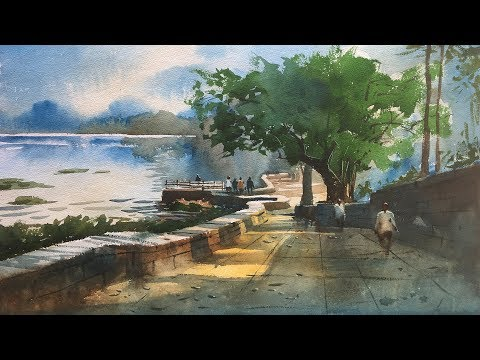 plein air watercolor painting demo