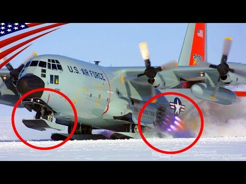 LC-130 Skibird on Antarctica - Ski & JATO Rocket Equipped Cargo Aircraft