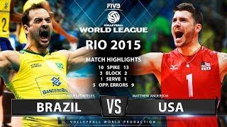 Incredible Match   USA vs Brazil   World Leauge 2015   Highlights