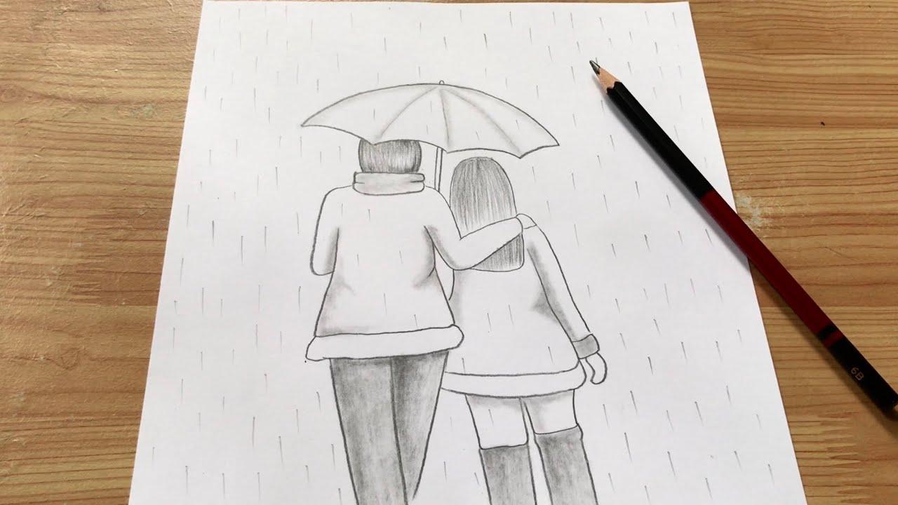 vẽ tranh cặp đôi dưới mưa bằng bút chì   how to draw couple by pencil