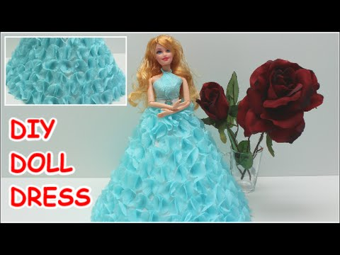 db70c5d6e45c7 How to Make a Cinderella DIY Doll Dress from Crepe Paper - Doll Dress Fun