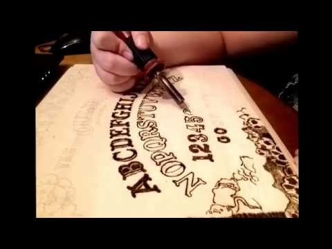 Ouja board pyrography time lapse part 1