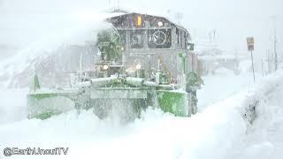 Cool Japanese Snow Clearing Train Crunches Through A Blizzard thumbnail