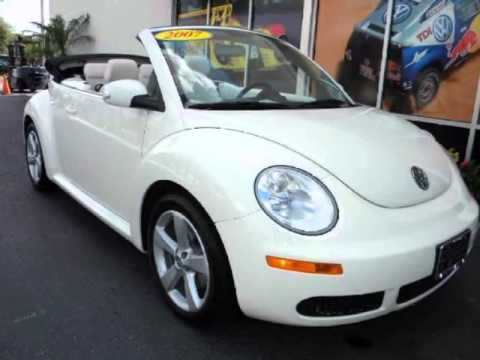 2007 VOLKSWAGEN New Beetle Triple White Convertible 2dr Auto 1 Owner Low Miles - YouTube