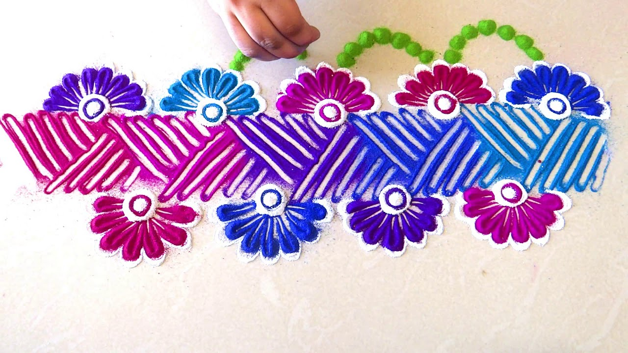 Diwali / Navratri special border rangoli designs with colours by  maya