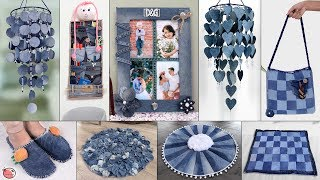 21 Old Jeans Reuse Craft Idea !!! Old Clothes Room Decor    Wall Hanging, Doormat, Organizer