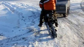 снегоход из скутера (scooter snowmobile DIY) ИСПЫТАНИЯ!