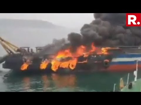 Indian Coast Guard Battles Massive Blaze On Offshore Vessel 'Jaguar', 28 Crew-Members Rescued