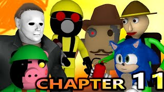 PIGGY CHAPTER 11 vs BALDI & SONIC! SPEEDRUNNER ROBLOX CHALLENGE! Myers horror Minecraft Animation