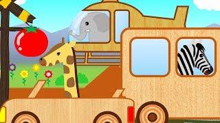 動物の名前を英語で学ぶ踏切と乗り物のKidsアニメ