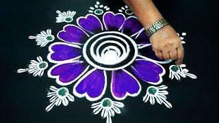 Simple art flower Rangoli without using dots || kolam for navarathri /Diwali | color muggulu designs