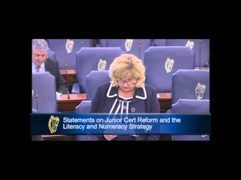 Senator Mary Moran speaking in the Seanad on Literacy, Numeracy and the new Jun Cert