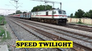 WAP7 Mumbai Rajdhani Burns Tracks Twilight