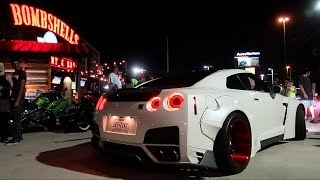 1500 HP. NISSAN GTR SHUTS DOWN BOMBSHELLS CAR MEET!