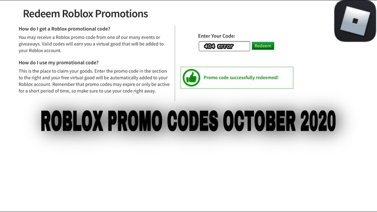 Roblox Redeem Codes October 2018 Working Roblox Promo Codes October 2020 Youtube