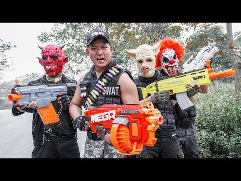 LTT Films : TWO Flash Nerf Guns Fight Attack Criminal Group Tiger Mask City Hunter