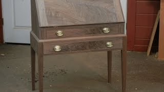 This video shows the making of a Slant Front Desk made of premium grade walnut and crotch walnut. This desk is made with hand-