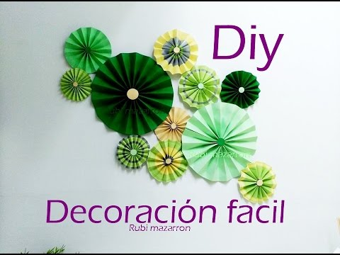 Diy rosetones para decorar una pared muy facil youtube for Manualidades para decorar tu cuarto