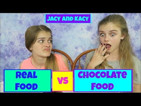 Thumbnail: Real Food vs Chocolate Food Challenge ~ Jacy and Kacy