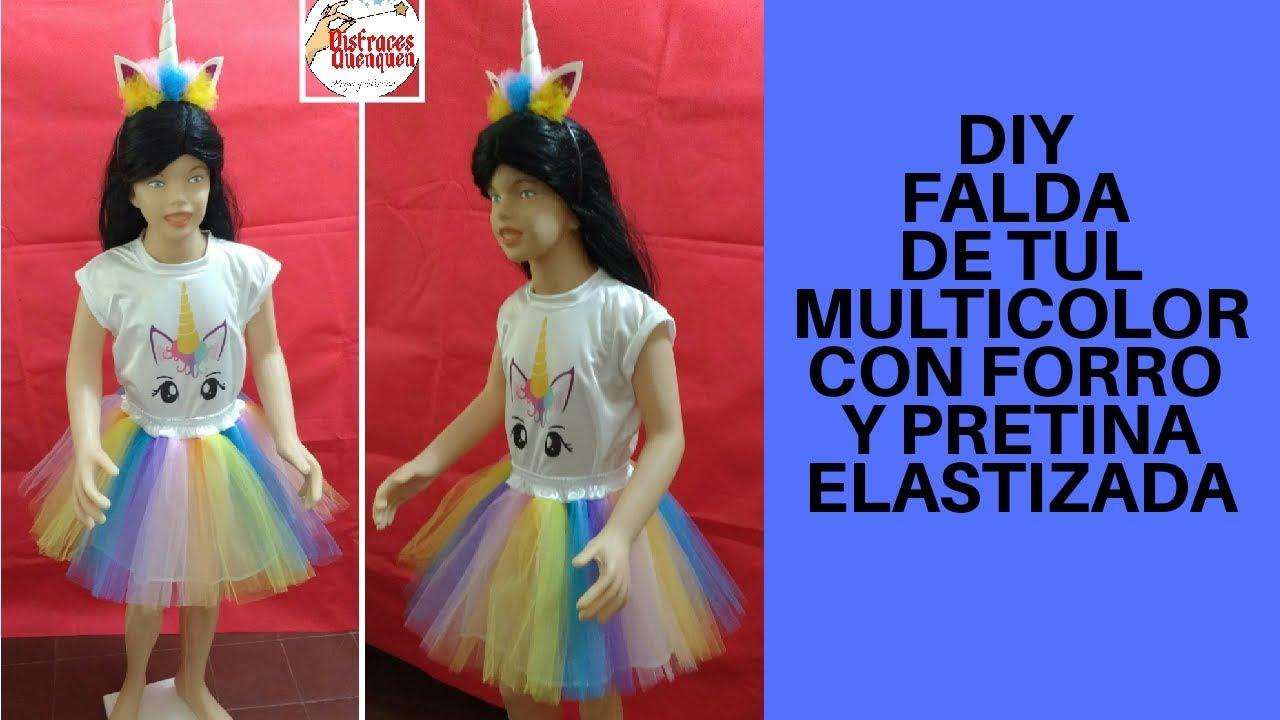 4d480b71e DIY. Disfraz de UNICORNIO. FALDA de TUL de colores con forro y ...