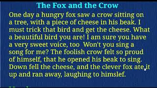 Learn English Khmer for story THE FOX AND CROW