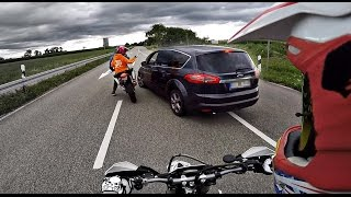 Angry Guy tries to overrun biker !! GERMAN ROADRAGE