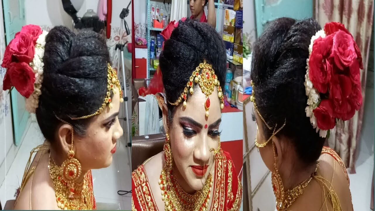 Bridal Hairstyle With Red Rose Indian Bridal Hairstyle