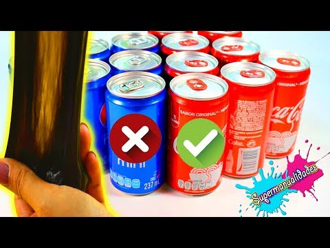No elijas el refresco incorrecto, Coca Cola o Pepsi Slime Challenge -Supermanualidades