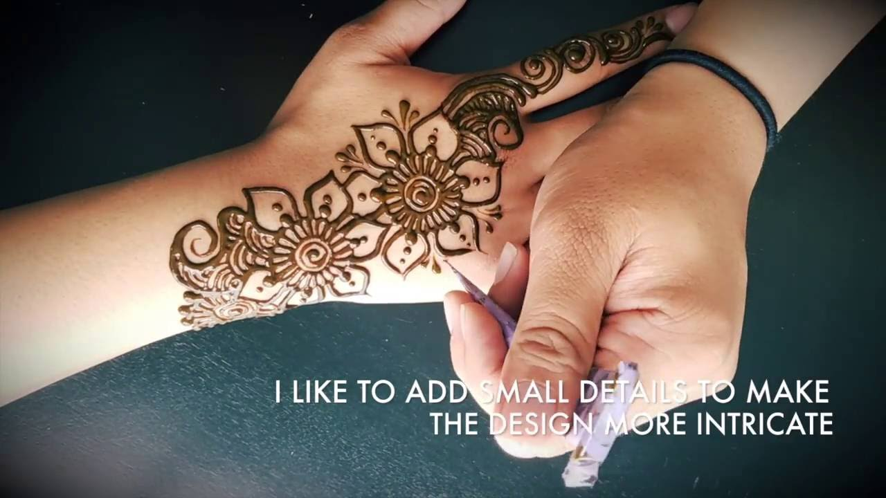 Mehndi Free Hand : Freehand henna mehndi design simple floral youtube