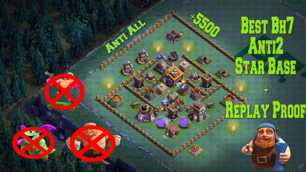 Best Builder Hall 7 Base W Proof Anti 2 Star 5500 Cups Bh7 Giant Cannon Clash Of Clans Youtube