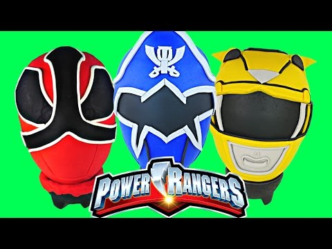 POWER RANGERS GIANT Play Doh Surprise Egg Opening Dino Charge Super Mega Force Samurai